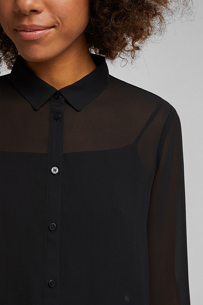 Chiffon-Bluse mit Layer-Effekt, BLACK, detail image number 2