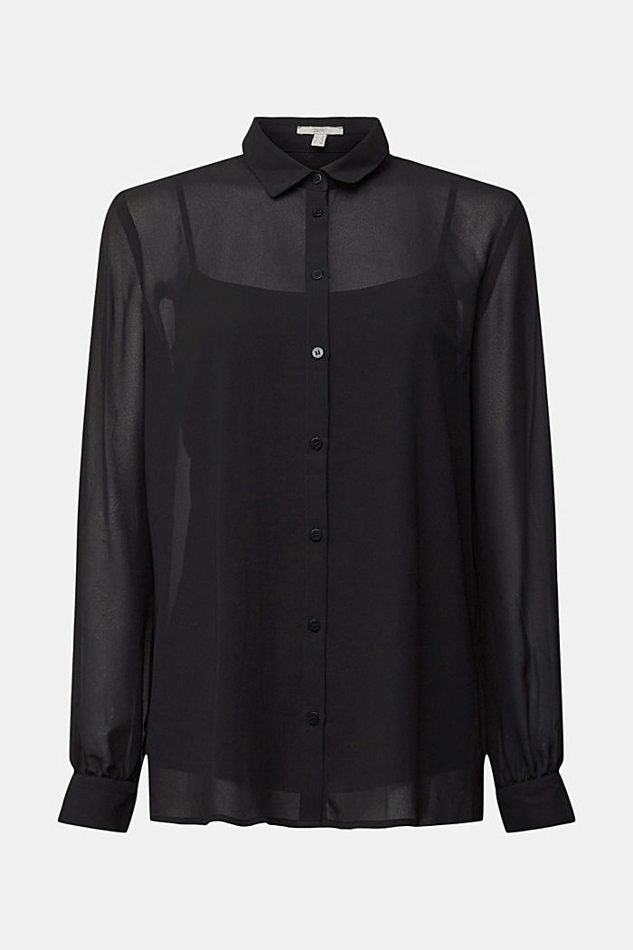 Chiffon-Bluse mit Layer-Effekt, BLACK, detail image number 7