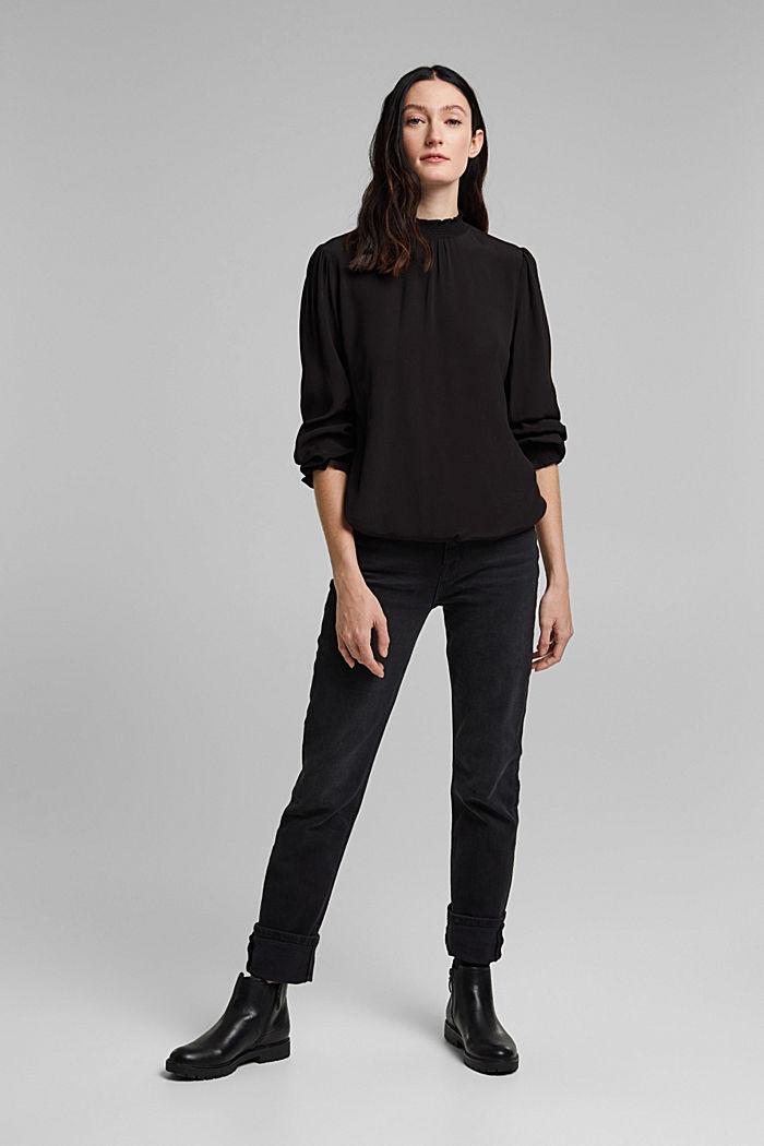 Bluse aus LENZING™ ECOVERO™, BLACK, detail image number 7
