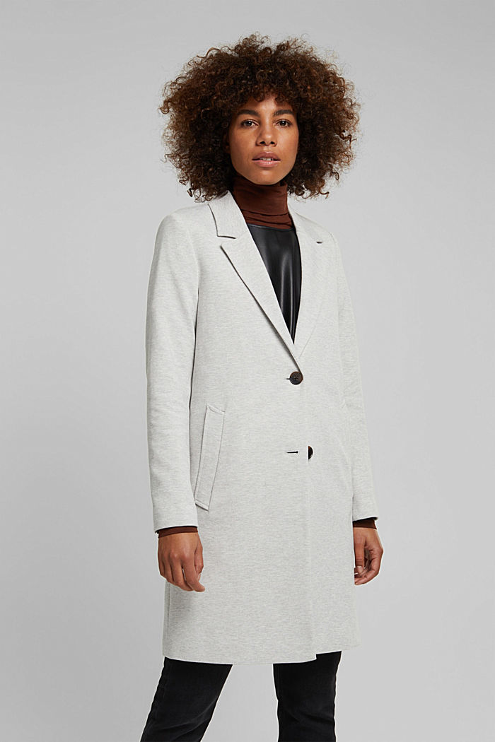 Blazer coat in a cotton blend, LIGHT GREY, detail image number 0