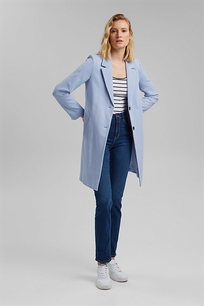 Blazer coat in a cotton blend, PASTEL BLUE, detail image number 1
