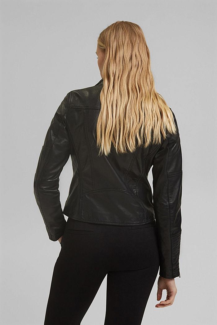 100% leather biker jacket, BLACK, detail image number 3