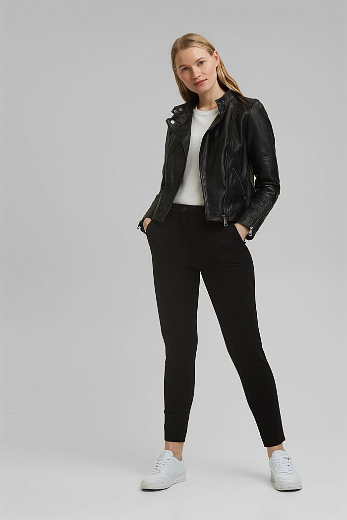 100% leather biker jacket, BLACK, detail image number 1