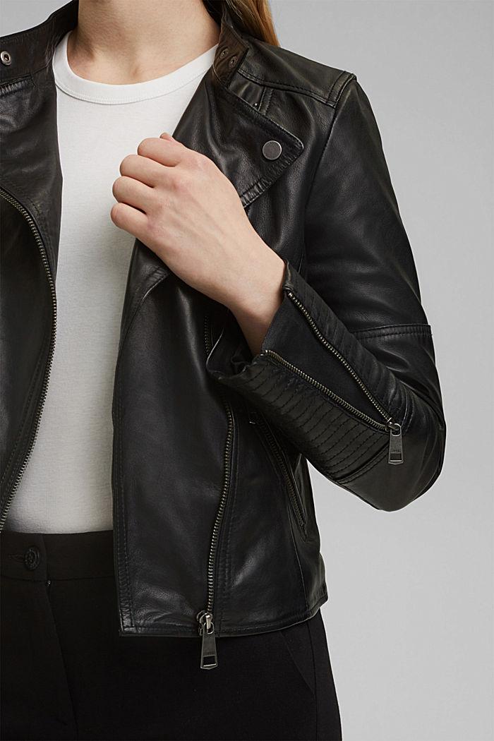 100% leather biker jacket, BLACK, detail image number 2