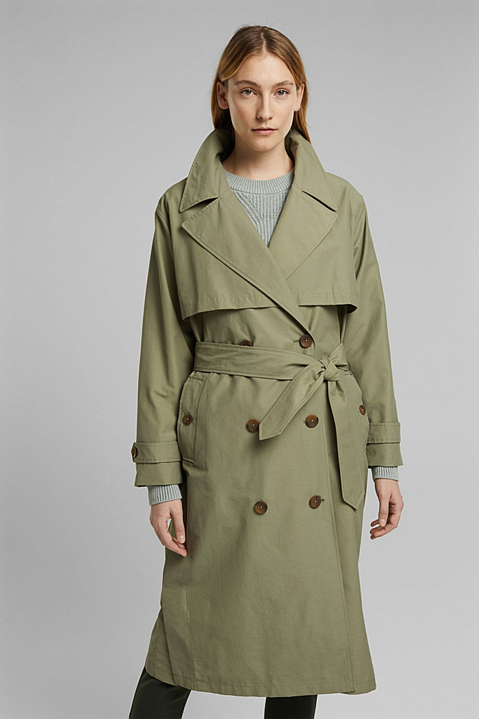 Maxi trench coat with organic cotton, LIGHT KHAKI, detail image number 1