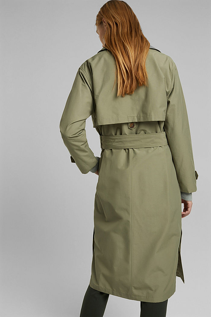 Maxi trench coat with organic cotton, LIGHT KHAKI, detail image number 3