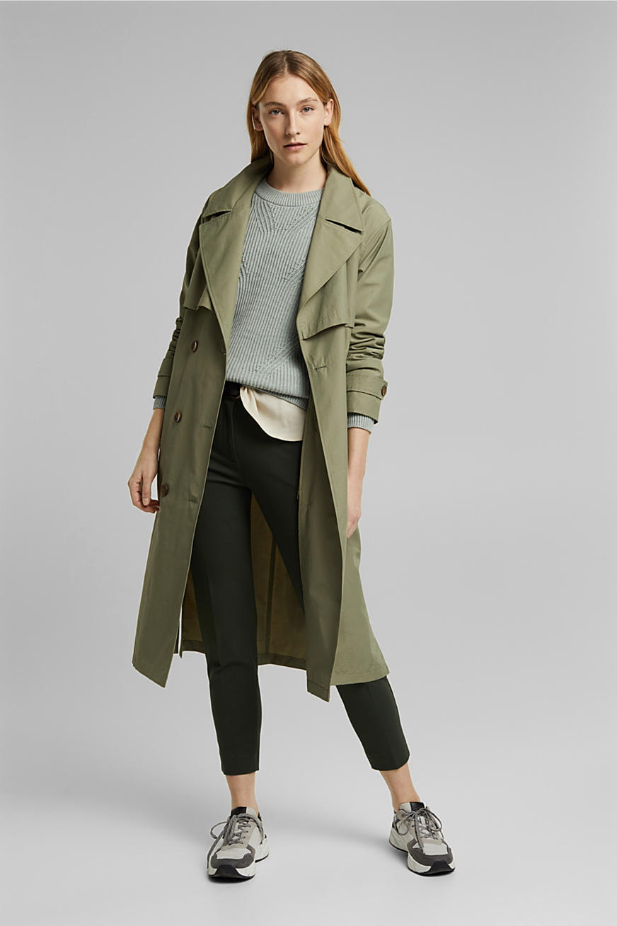 Maxi-trenchcoat met organic cotton