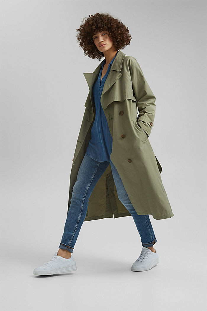 Maxi trench coat with organic cotton, LIGHT KHAKI, detail image number 7