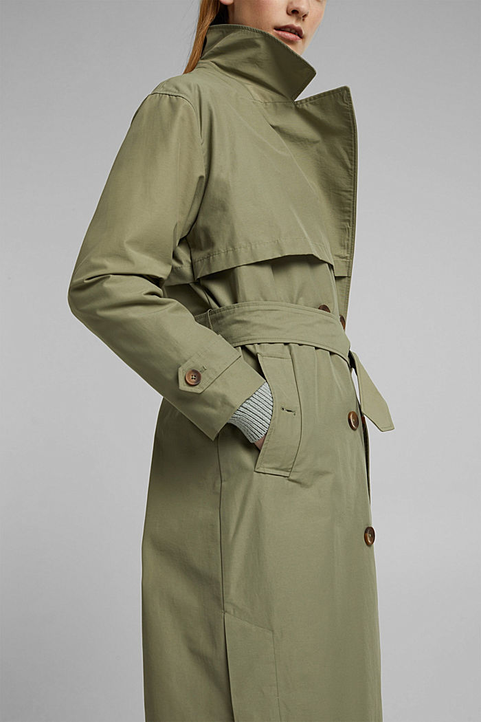 Maxi trench coat with organic cotton, LIGHT KHAKI, detail image number 2