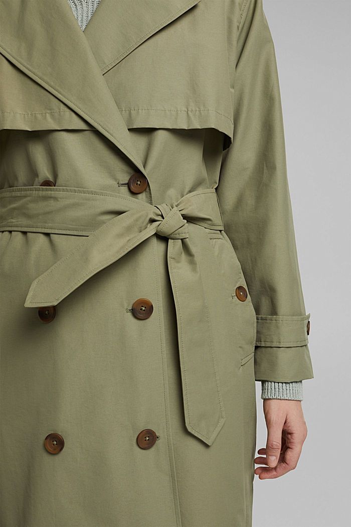 Maxi trench coat with organic cotton, LIGHT KHAKI, detail image number 5