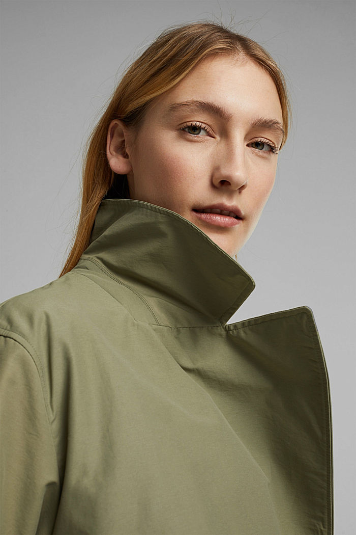 Maxi trench coat with organic cotton, LIGHT KHAKI, detail image number 6