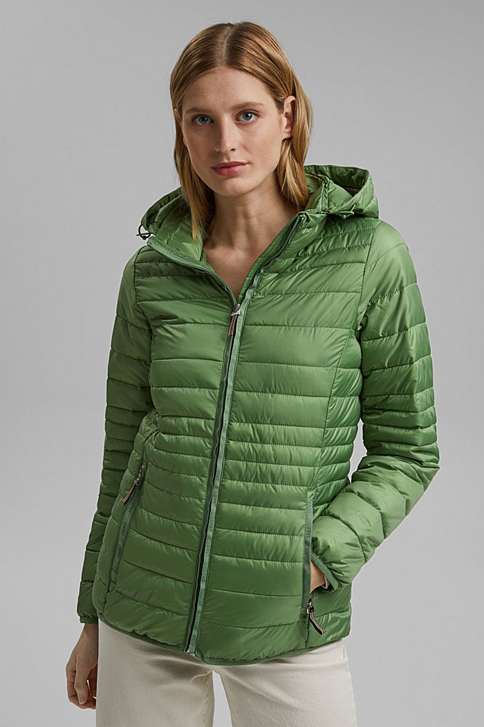Recycled: Quilted jacket with an adjustable hood, LEAF GREEN, detail image number 0