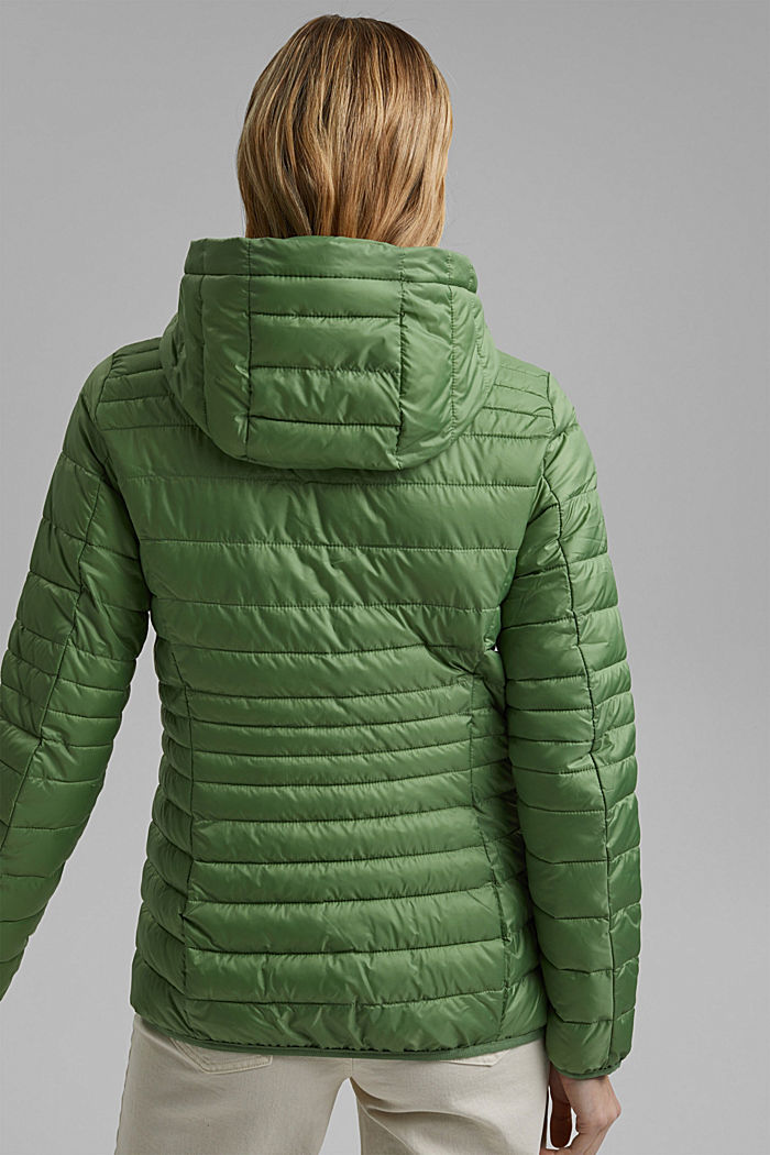 Recycled: Quilted jacket with an adjustable hood, LEAF GREEN, detail image number 3