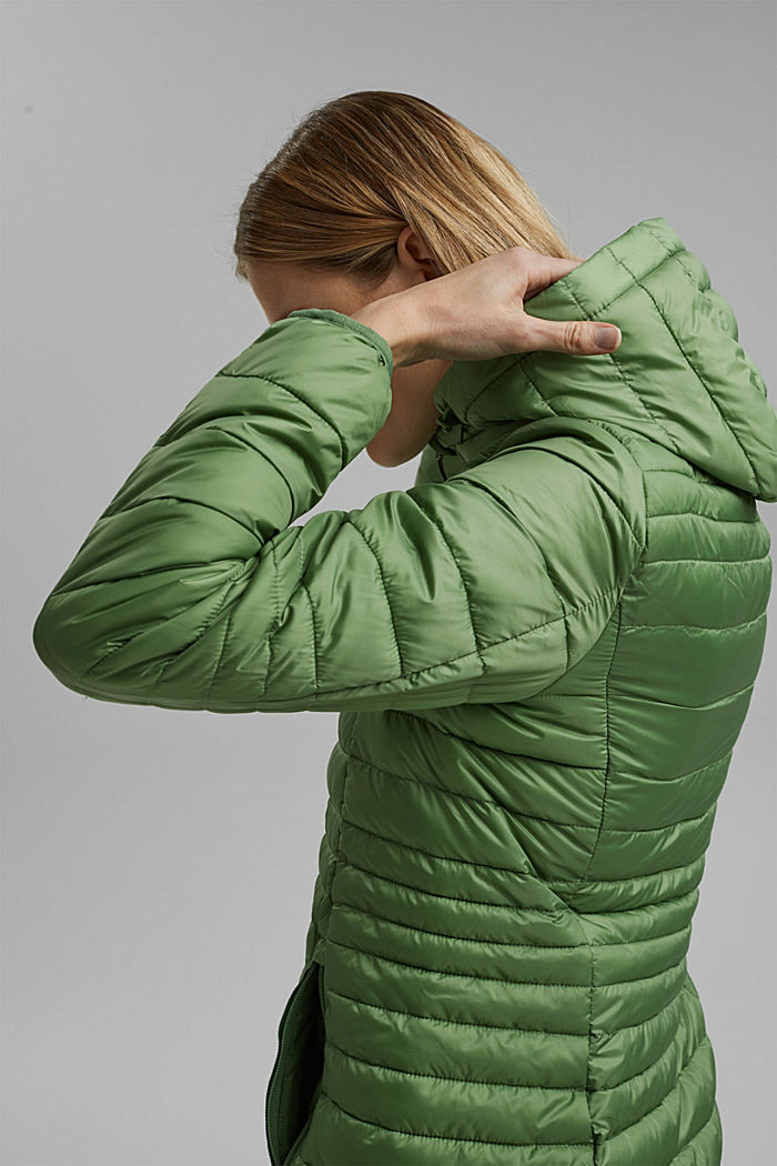 Recycled: Quilted jacket with an adjustable hood, LEAF GREEN, detail image number 5