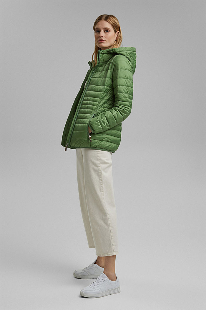 Recycled: Quilted jacket with an adjustable hood, LEAF GREEN, detail image number 1