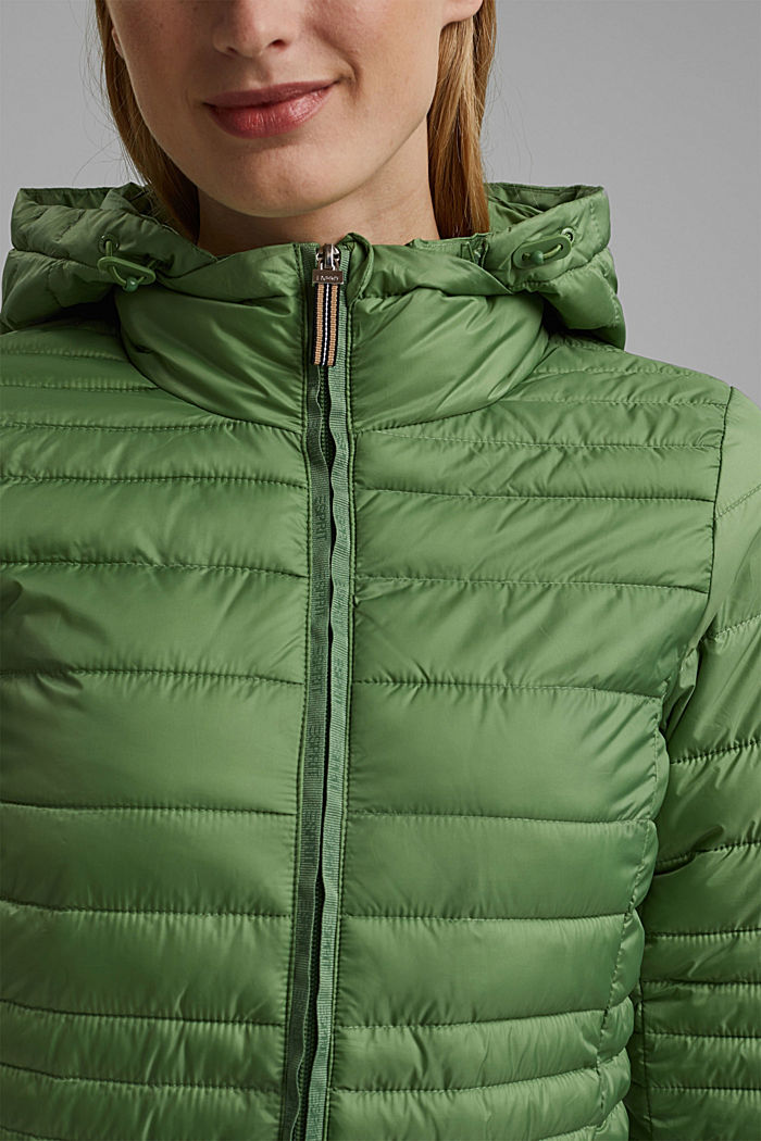 Recycled: Quilted jacket with an adjustable hood, LEAF GREEN, detail image number 2