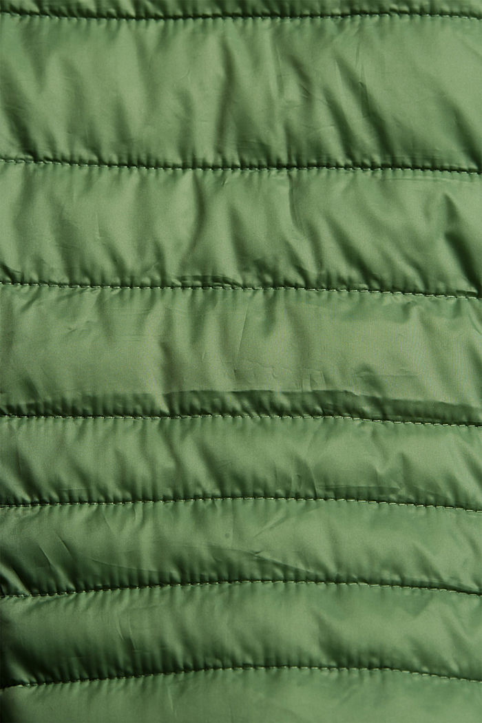 Recycled: Quilted jacket with an adjustable hood, LEAF GREEN, detail image number 4