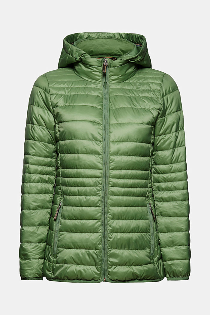 Recycled: Quilted jacket with an adjustable hood, LEAF GREEN, detail image number 6