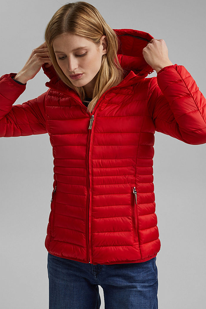 Recycled: Quilted jacket with an adjustable hood, RED, detail image number 0