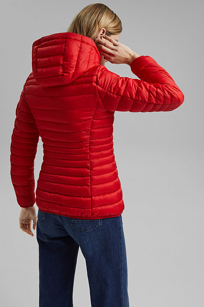 Recycled: Quilted jacket with an adjustable hood, RED, detail image number 3