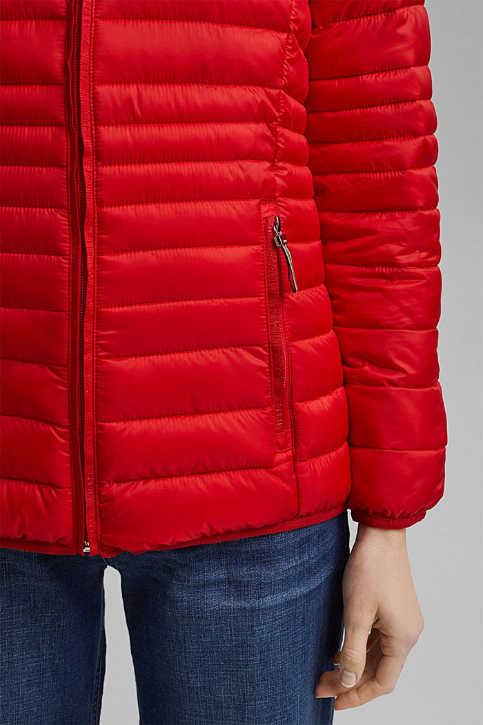 Recycled: Quilted jacket with an adjustable hood, RED, detail image number 5