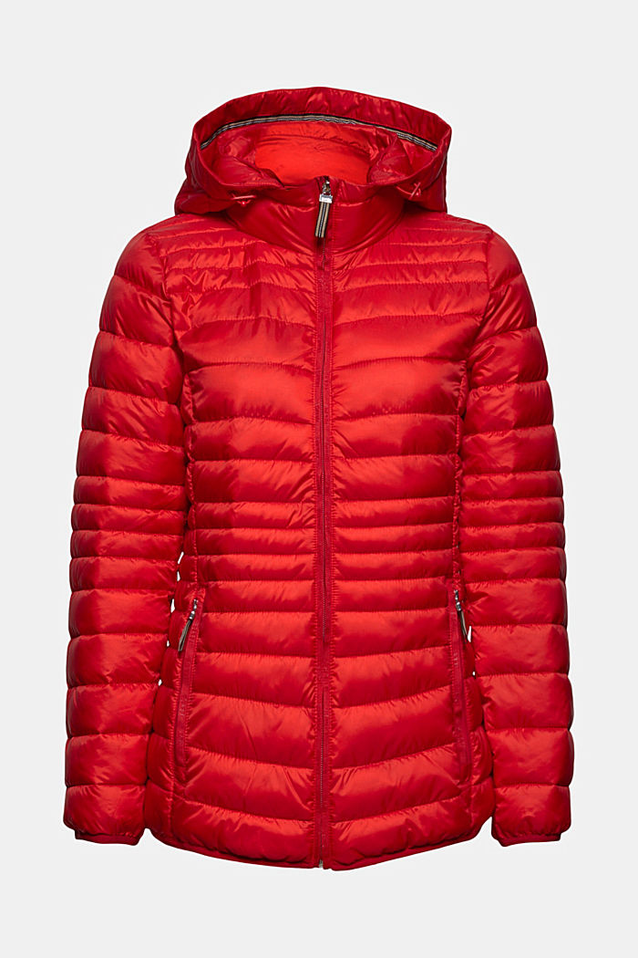 Recycled: Quilted jacket with an adjustable hood, RED, detail image number 7