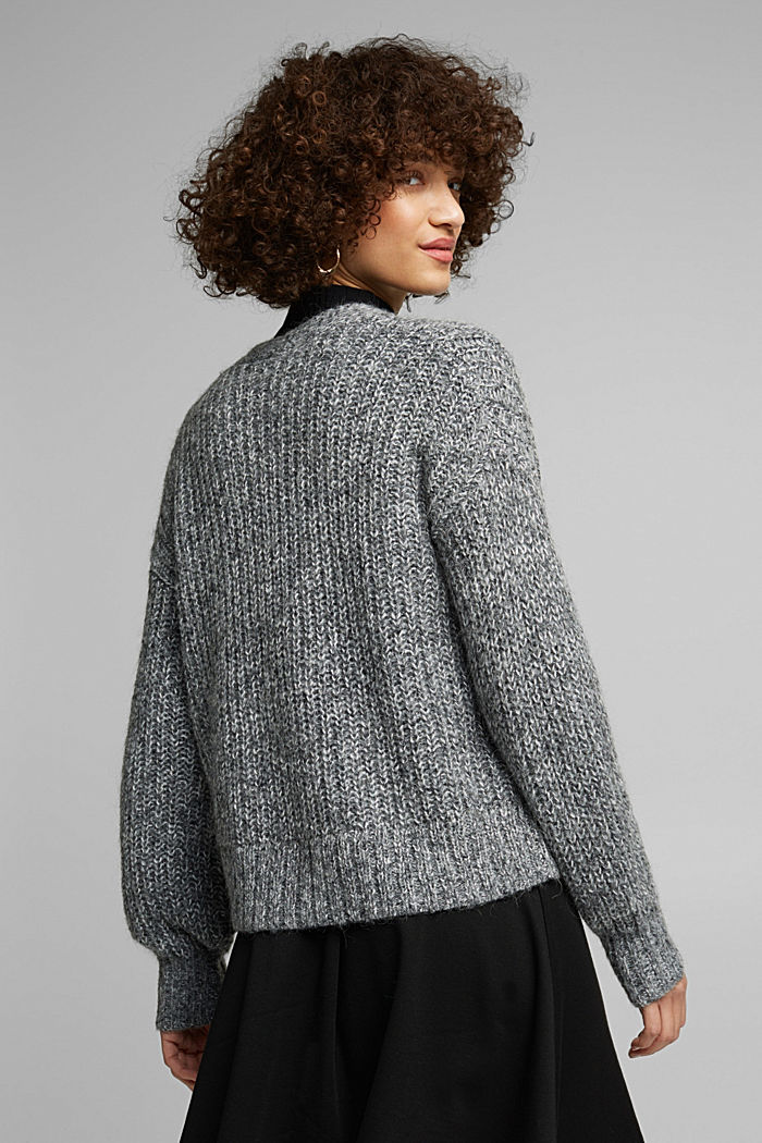 Recycled: cardigan with alpaca wool, GUNMETAL, detail image number 3