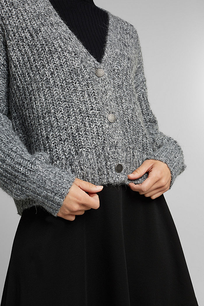 Recycled: cardigan with alpaca wool, GUNMETAL, detail image number 2