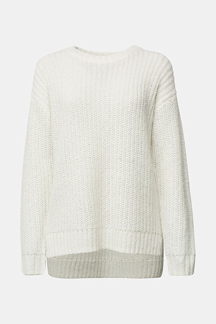 Recycelt: Pullover mit Alpaka, OFF WHITE, detail image number 7