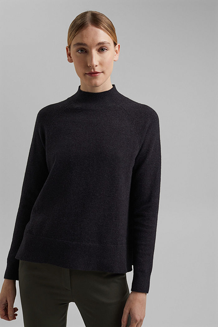 Jumper with wool and organic cotton, ANTHRACITE, detail image number 1