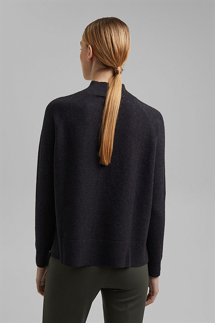 Jumper with wool and organic cotton, ANTHRACITE, detail image number 3