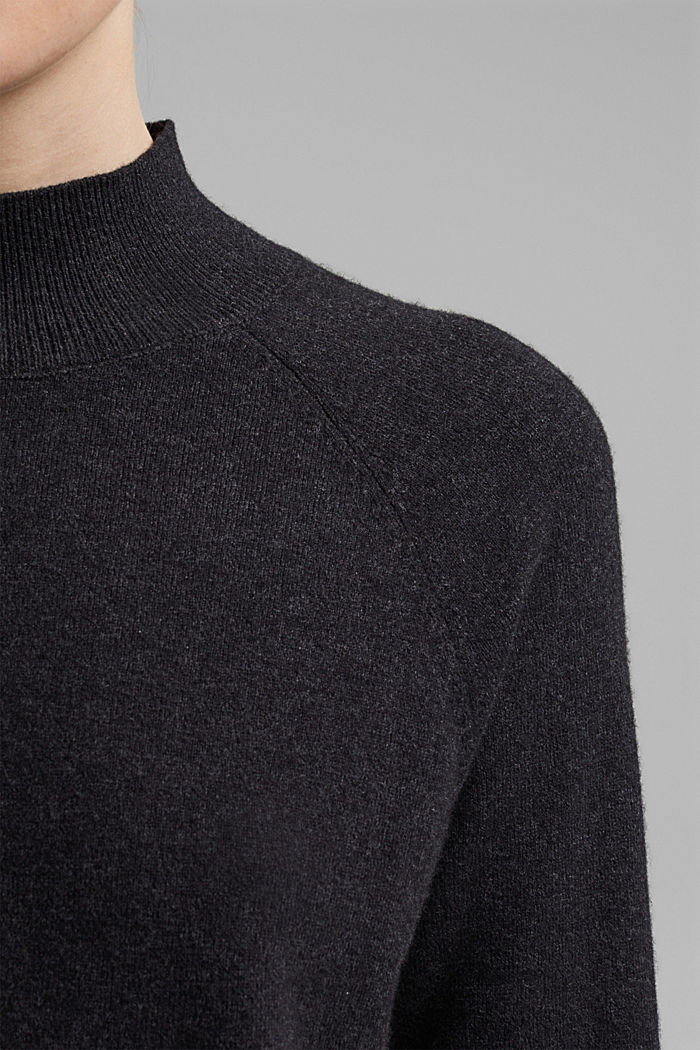 Jumper with wool and organic cotton, ANTHRACITE, detail image number 2