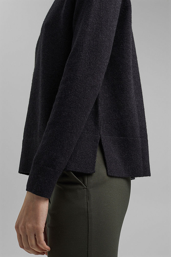 Jumper with wool and organic cotton, ANTHRACITE, detail image number 5