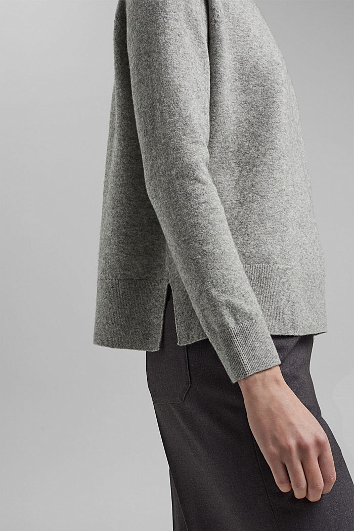 Jumper with wool and organic cotton, MEDIUM GREY, detail image number 5