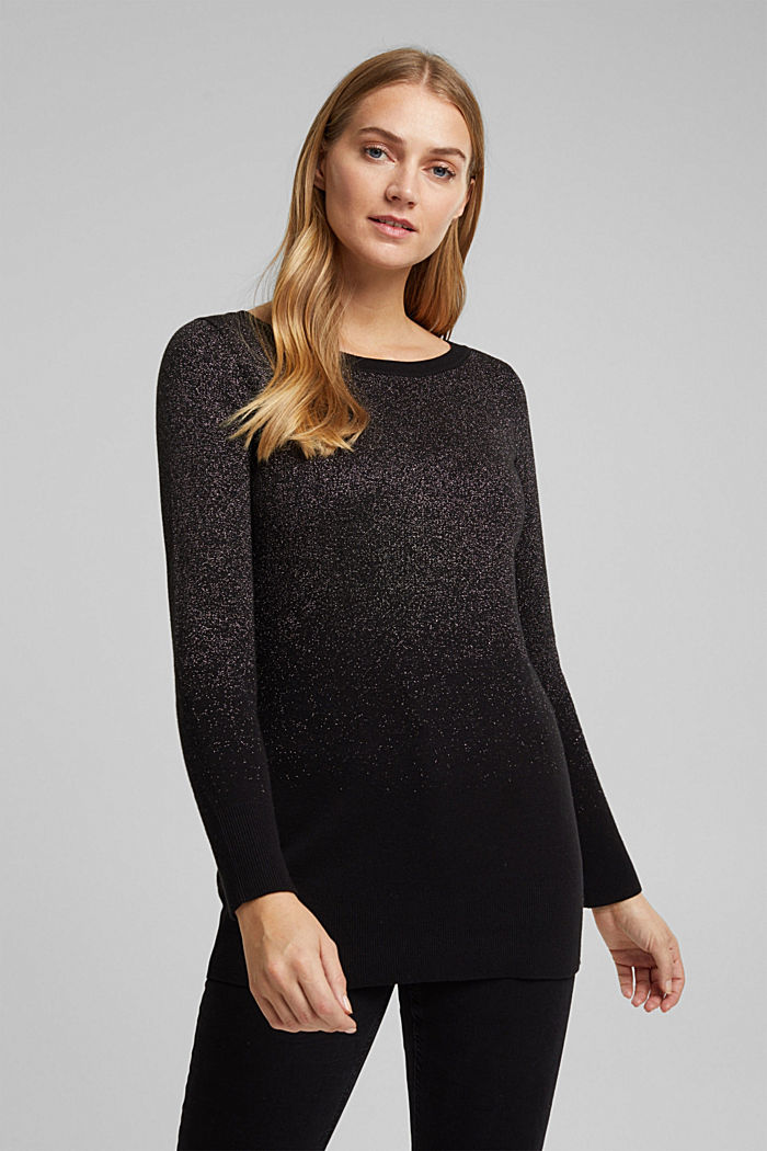 Sparkly jumper with organic cotton, BLACK, detail image number 0