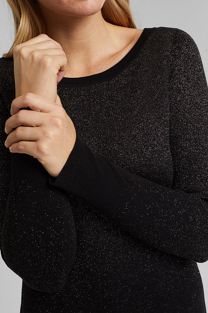 Sparkly jumper with organic cotton, BLACK, detail image number 2