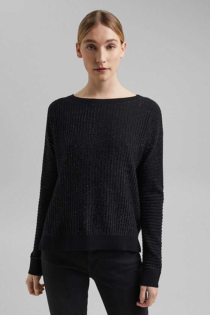 Lurex jumper with a ribbed texture, BLACK, detail image number 0