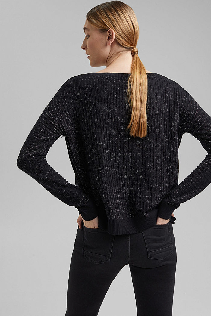 Lurex jumper with a ribbed texture, BLACK, detail image number 3