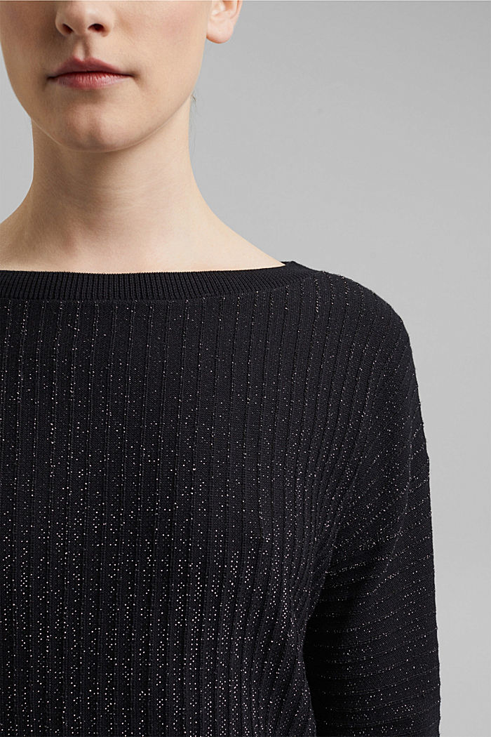 Lurex jumper with a ribbed texture, BLACK, detail image number 2