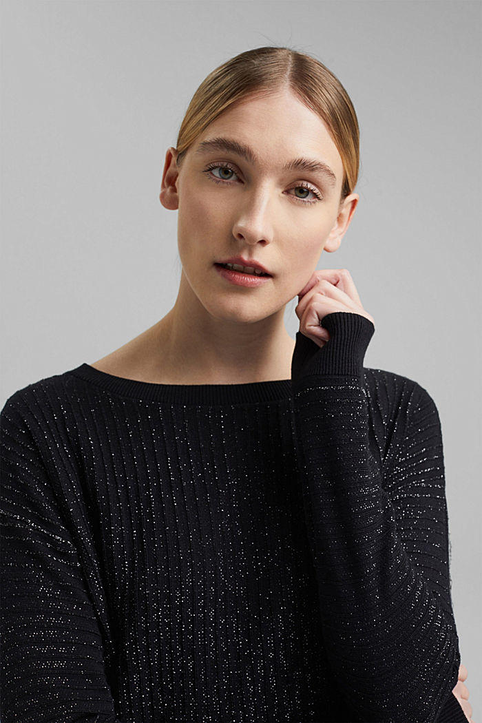 Lurex jumper with a ribbed texture, BLACK, detail image number 5