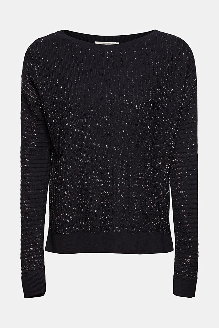 Lurex jumper with a ribbed texture, BLACK, detail image number 6