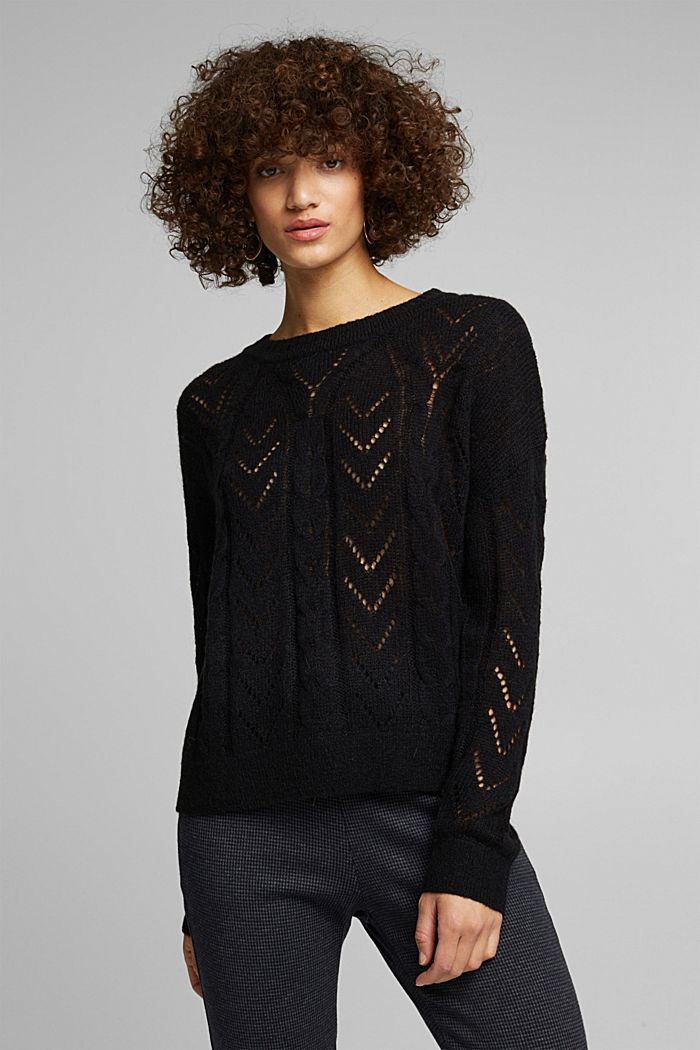 With wool and alpaca: jumper with an openwork pattern, BLACK, detail image number 0