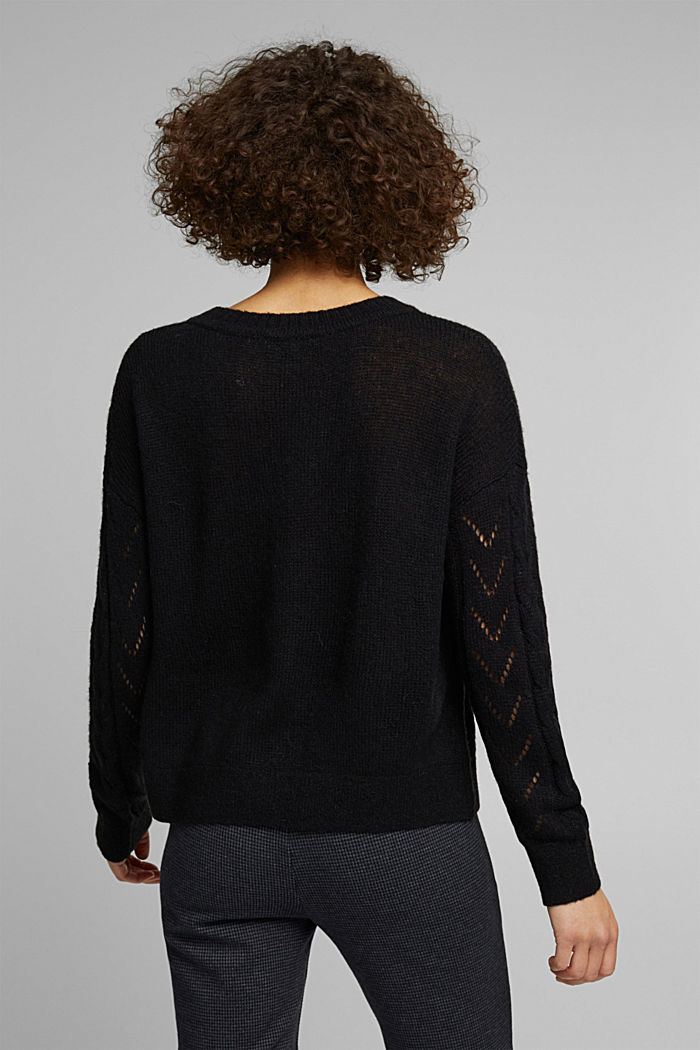 With wool and alpaca: jumper with an openwork pattern, BLACK, detail image number 3