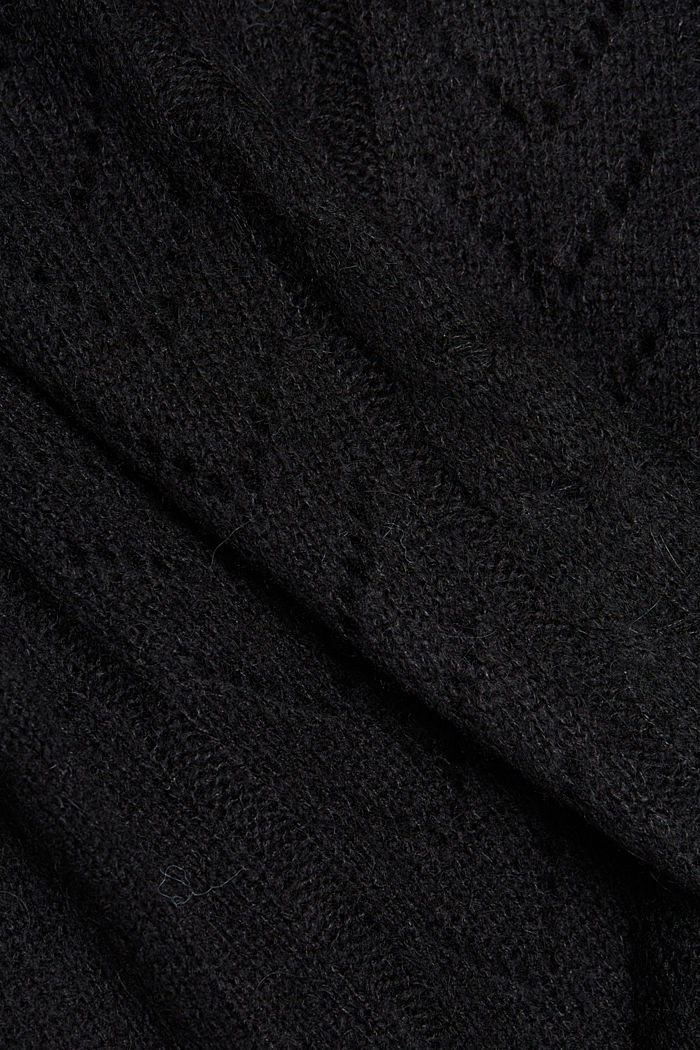With wool and alpaca: jumper with an openwork pattern, BLACK, detail image number 4