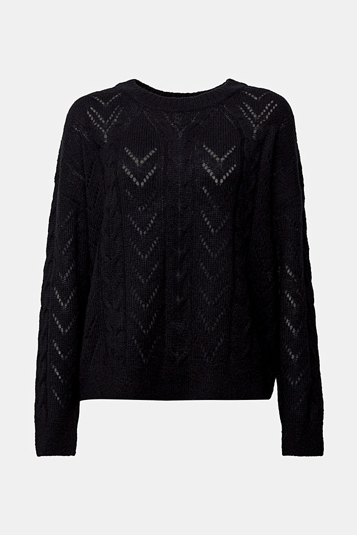 With wool and alpaca: jumper with an openwork pattern, BLACK, detail image number 5