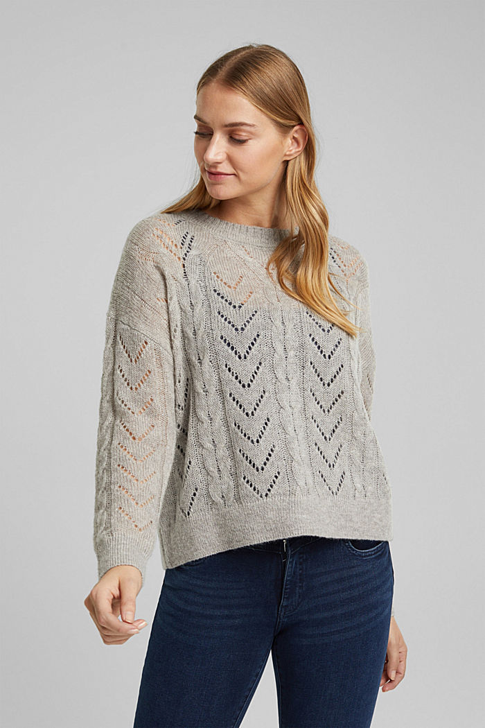 With wool and alpaca: jumper with an openwork pattern, MEDIUM GREY, detail image number 0