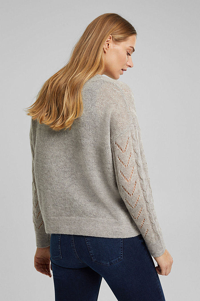 With wool and alpaca: jumper with an openwork pattern, MEDIUM GREY, detail image number 3