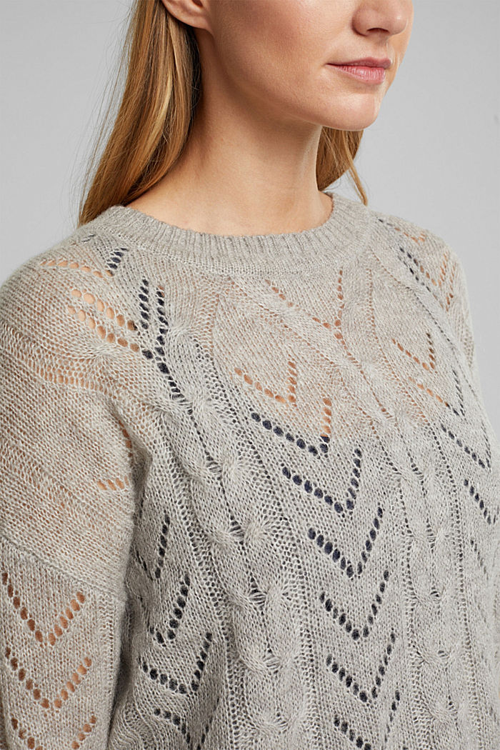 With wool and alpaca: jumper with an openwork pattern, MEDIUM GREY, detail image number 2