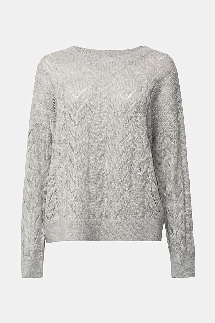 With wool and alpaca: jumper with an openwork pattern, MEDIUM GREY, detail image number 5