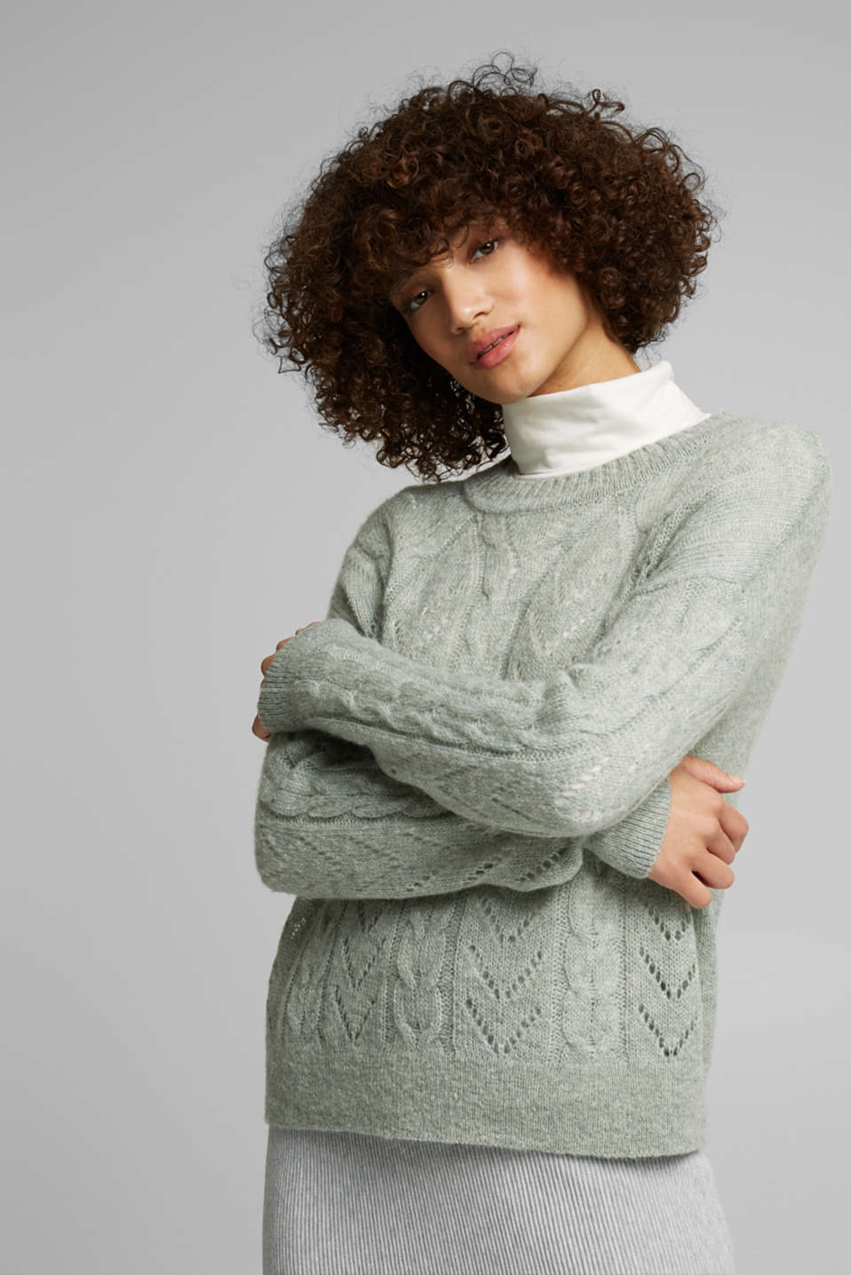 Esprit - With wool and alpaca: jumper with an openwork pattern